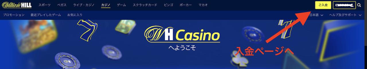 ウィリアムヒルカジノの入金