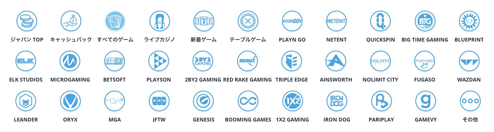 カジノシークレットのゲームプロバイダー